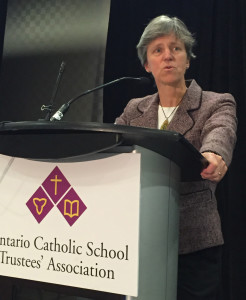 Karen Pitre Speaks to Catholic Trustees