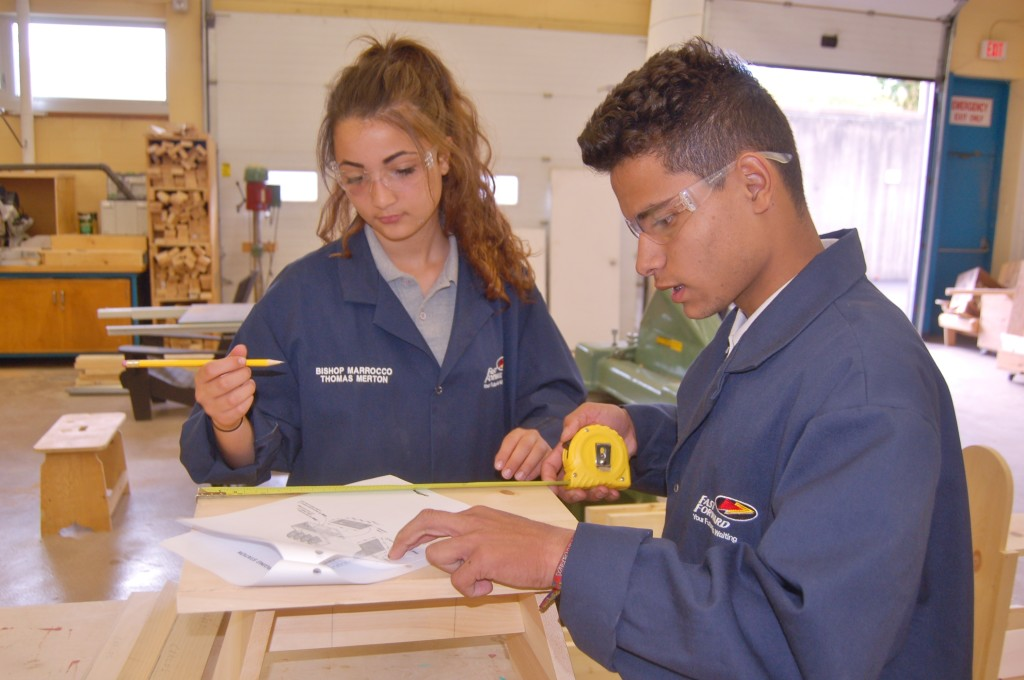 female and male student with  plans
