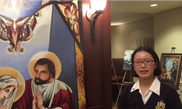 Toronto Catholic Student at Queen's Park – Explains Nativity Artwork